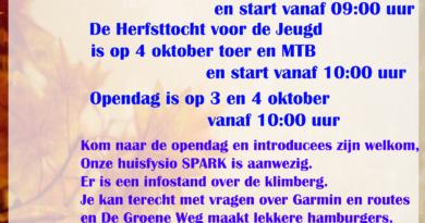 HERFSTTOCHT en OPENDAG 3 en 4 oktober